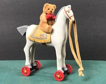 "A Pony For Christmas Hallmark Keepsake Ornament 1998 - 3.5"" Miniature Gray Horse on Wheels w/ Felt Teddy Bear Rider - Vintage Tree Ornaments"