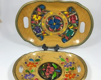 2 Wood Serving Trays - Vintage Handmade Painted Floral Wooden Dishes w/ Handles -  Bright Colors, Gold Trim | India, Mexico, French Country