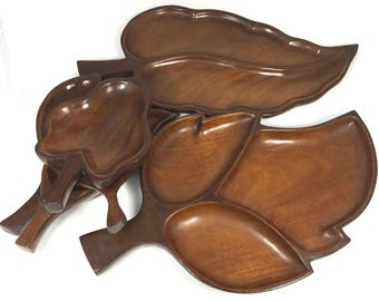 Vintage Mahogany Leaf Dishes | Lot of (6)  Rustic Handmade Wood Leave Shaped Bowls | 2 Large & 4 Small Wooden Tray Set| Unique Gift Idea