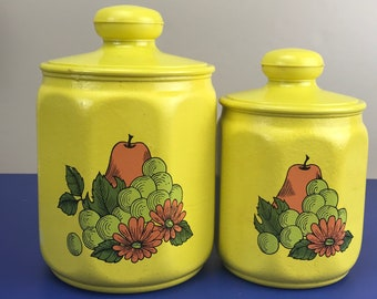 2 Vintage Kromex Yellow Metal Kitchen Canisters w/ Plastic Lids - Retro Food Storage Jars Grapes, Pears & Sunflowers - Kitschy Kitchen Decor