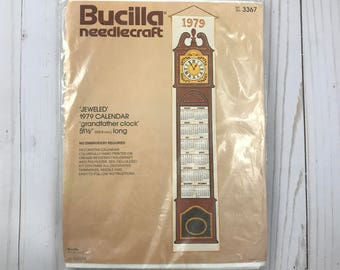 Bucilla Needlecraft 1979 Hanging Calendar - Needlepoint Sealed Craft Kit - Jeweled Sequins - Grandfather Clock Design - Kit #3367 - NOS NEW