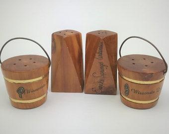 2 Vintage Wooden Salt & Pepper Shaker Sets - Wooden Water Buckets - Danish Modern- Instant Collection - Wisconsin Souvenirs - 1960's Kitsch
