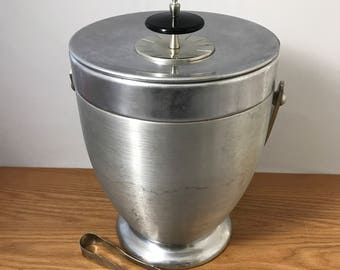 1960's Vintage Kromex Ice Bucket - Retro Brushed Chrome Wine Chiller / Cooler with Tongs - Shabby Chic  - Hollywood Regency Decor - Mad Men