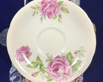 Ansley Pink Cabbage Rose Tea Saucer - Antique Gold Trimmed Fine Bone China - Made in England - 1940's - Tea Set Plate Replacement