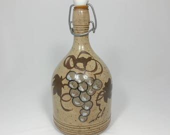 French Pottery Wine Bottle - Vintage Handmade Decanter with Top Stopper - Grape & Vines Vase - French Country Decor - Artisanat Luc Antonini