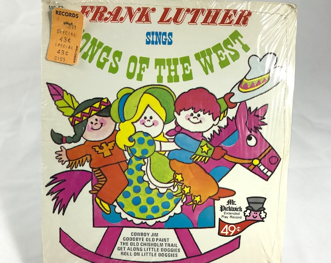 """Sealed 1960's Kid's 45 Record """"Songs of the West"""" Sung by Frank Luther -Mr. Pickwick MP-42 - Vintage Children's Sing Along Vinyl 45 RPM-"""