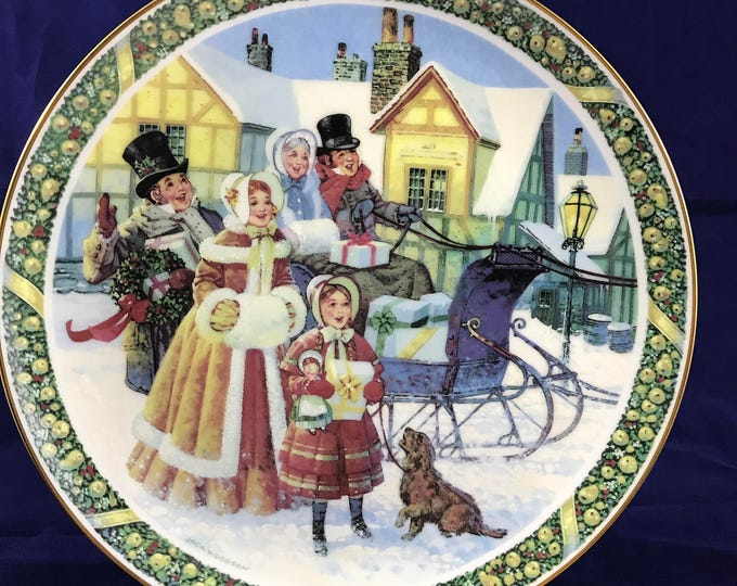 """Royal Windsor """"Here We Come A-Caroling"""" Collector Plate - Limited Edition - Christmas Carol Collection - Jack Woodson - Victorian Holiday"""