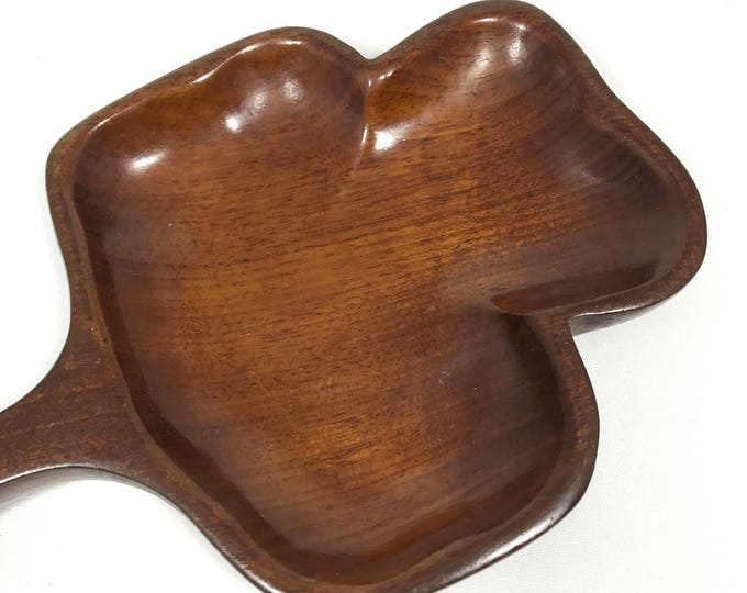 Vintage Mahogany Club Dish | Small Wooden Clover/Club Playing Card Shaped Plate | Poker Themed Wood Tray | For Snacks, Rings, Chips, Change
