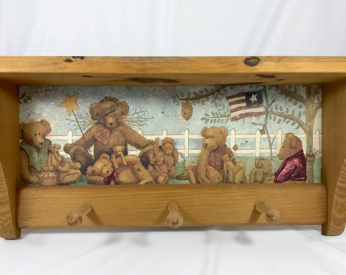 "American Teddy Bear 24"" Wall Shelf & Coat Rack - Vintage Handmade Rustic Cottage Cabin Decor | Teddy Bears Honey Bees"