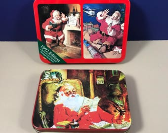 Santa Claus Tins & Playing Cards - Vintage Christmas Tin Boxes with 4 Decks of Cards - Coca Cola 1992 and 1950's Old Saint Nick - Decoration
