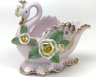 Pink Porcelain Swan Dish - Vintage Lefton China - Gold Gilt & Roses - Decorative Soap Dish -Ring Trinket Bowl - Shabby Chic Swan Shelf Decor