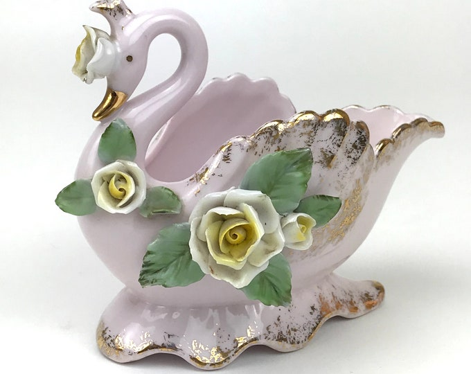Pink Porcelain Swan Dish - Vintage Lefton China - Gold Gilt & Roses - Decorative Soap Dish -Ring Trinket Bowl - Shabby Chic Swan Shelf Decor