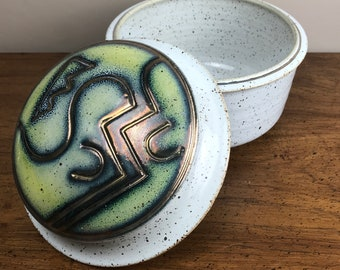 Abstract Pottery Lidded Jar - Vintage Handmade Urn - Artist Signed Pottery Bowl w/ Lid - Speckled Gold - Art Deco Decor - Geometric Canister