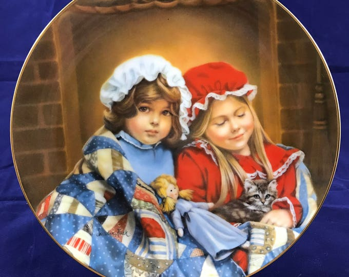 Fireside Dreams by Sandra Kuck Collector Plate - January - A Childhood Almanac Collection - Reco 1984 - Fine China - Porcelain - Girls & Cat