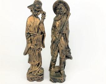 """Vintage Chinese Couple Figurines - 11"""" Faux Bronze Plastic Oriental Man & Woman Statue Set - Retro Asian Decor - Shelf, Mantel, Office Decor"""