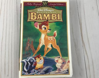 Walt Disney's BAMBI VHS Video - Masterpiece Collection - 55th Anniversary - Limited Edition - Clam Shell Case - Animated - Cartoon - Movie