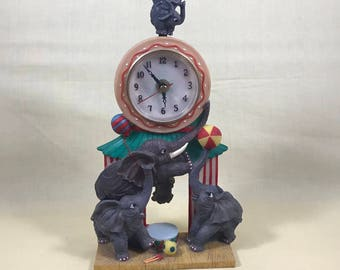 Vintage Elephant Circus Clock - Quartz Mantle Pendulum Clock - Trapeze - Big Top - Trunk Up Playing Elephants - Christmas Gift - On Sale Now