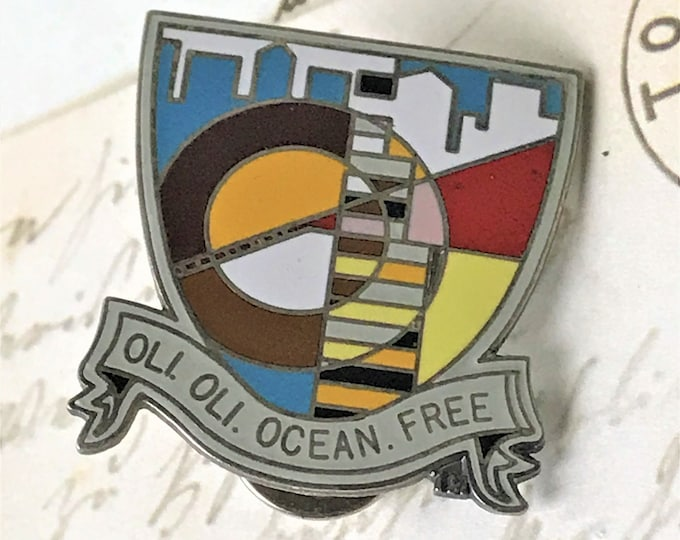 Oli Oli Ocean Free Souvenir Enamel Pin - Vintage Travel Lapel Pin - Hat Pin - Tie Pin -  Double Pin Back w/ Skyline - On Sale Free Shipping