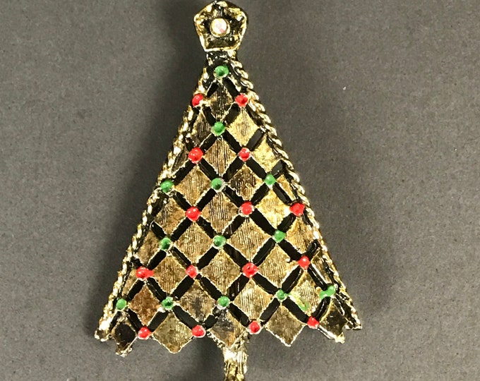 Vintage Christmas Tree Pinback Brooch - Gold Tone & Enamel Holiday Lapel Pin w/ Rhinestone Star - Retro Stocking Mom Gifts - Costume Jewelry