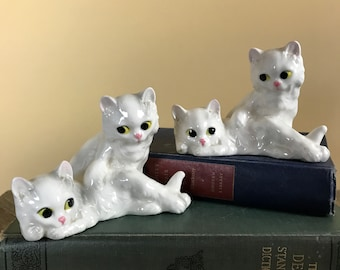 Mid-Century Kitschy Porcelain Persian Cat Figurines - Vintage White Double Cats Shelf Sitters - Retro MCM Kitsch Cat Curio Display Decor