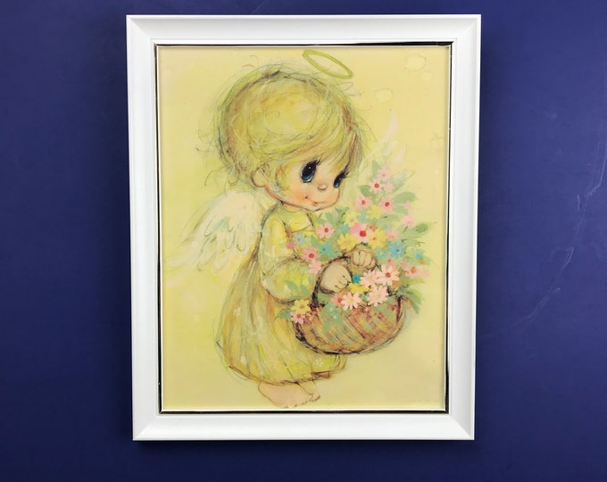 "Hallmark's ""Little Angels"" 9x11 Wall Hanging - 1970's Big Eyes Girl Framed Nursery Art Print - Vintage Blond Angel Child w/ Flower Basket"