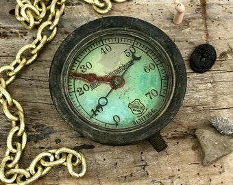 Antique Pressure Gauge - Vintage Steampunk Home Decor - Altered Art Supply - Rusty As Found Industrial Salvage - American Radiator Altitude