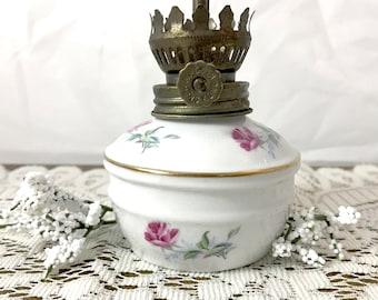 Vintage Miniature Oil Lamp - Elegant Pink Rose Porcelain Lantern, Vanity Bottle, Bathroom Decor,  Mid Century Bodior -Boho- Floral China