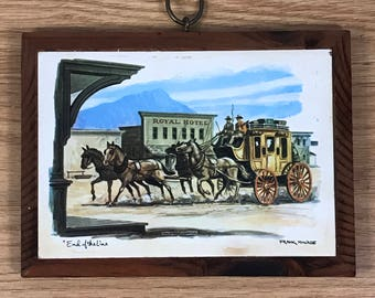 "Frank McWade ""End of the Line"" Wood Wall Plaque - Old West Artwork - Horse & Carriage Cowboy Wall Hanging - Western Decor - Wooden Rustic"