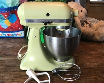 dbe1e3faa73e Vintage Hobart Kitchenaid Stand Mixer Model K45SS Almond /Soft Yellow Color  with Mixing Bowl & 2 Attachments - Kitchen Aid Appliance on Sale
