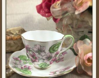 "Salisbury Tea Cup And Saucer Set - ""Geranium"" - Fine Bone China - Made in England - English Tea Service - Vintage Teacup / Plate - Tea Party"