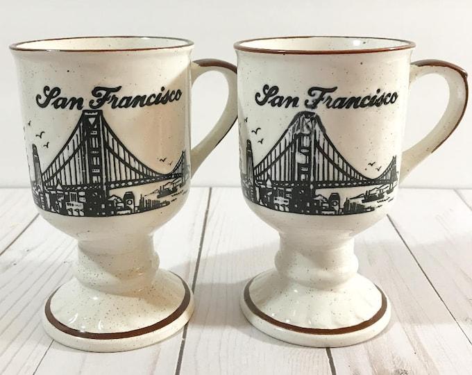 Vintage Stoneware Mug Set - San Francisco Souvenir Coffee Cups - Footed - Speckled - Embossed - Golden Gate Bridge - Skyline - Cable Car