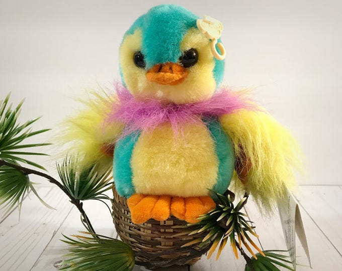 "Baby Pigeon Plush - Rare 1992 Cuddle Wit Bird - Vintage Colorful Parrot Plushy - 7"" Stuffed Animal - Nursery Decor - Child's Bedroom Prop"