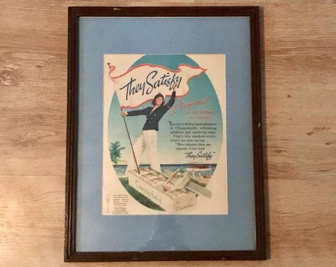 Vintage Cigarette Ad 1930's - Retro Garage, Man Cave, Bar Decor - Framed Wall Hanging - Nautical - Large Smoking Advertisement - Vice - Gift