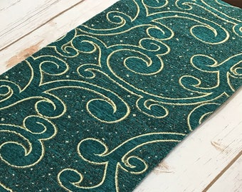 """Teal Green Jacquard Table Runner - Vintage Woven Fabric 70"""" Tablecloth - Boho Dining Room - Dresser Scarf - Indian / India - Bohemian Decor"""