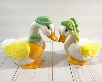 "Vintage Ceramic Duck Figurine Set - Victorian Easter Decor - 10"" Mr. & Mrs. Duck Statues - Cottage Chic - Farmhouse Garden Decor - Goose Art"