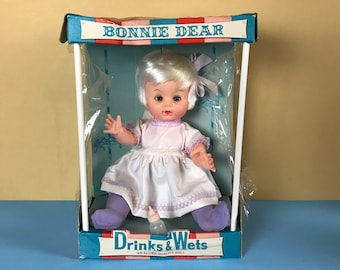 Rare 1965 Bonnie Dear Drinks & Wets Adorable Vintage Blond Baby Doll New in Box w/ Pink Bottle - Vinyl Allied Girl Doll Blue Sleep Eyes Toy