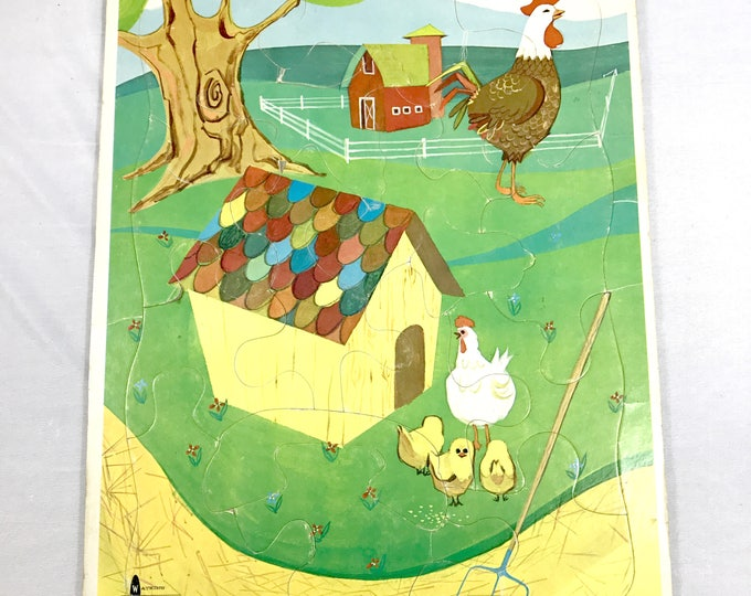 Vintage Chicken Coop Puzzle - 1967 Watkins Strathmore Children's Tray Jigsaw Puzzle - Country Farm Game / Craft - Hens, Rooster & Chicks