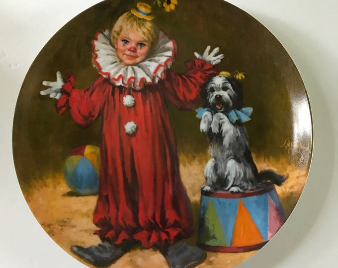 "Reco  John McClelland Circus Collections First Issue Porcelain Collective Plate - ""TOMMY the CLOWN"" 
