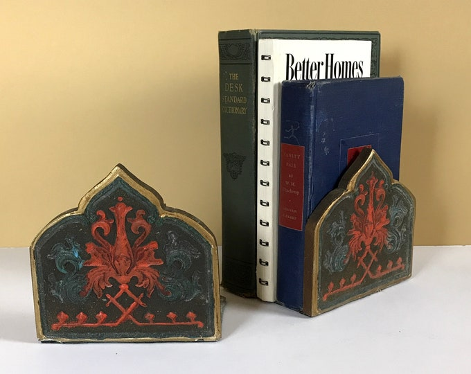 Mid-Century Florentine Bookends w/ Red Stylized Tulip Motif - Vintage Bookend Set MCM Library & Office Decor - Bohemian Retro Shelf Sitters