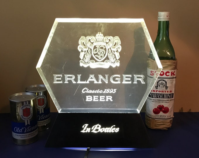 Vintage Lighted Erlanger Classic Beer Sign - Working Retro 80's Bar Top Brewery Advertising Signage - Man Cave Light Christmas Gifts for Dad