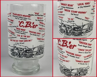 "Retro Trucker's CB Radio Drinking Glass Tumbler - Vintage ""The C.B.'er"" Glass Cup of Truck Driver Jargon - Gift for Long Haul Semi Driver"