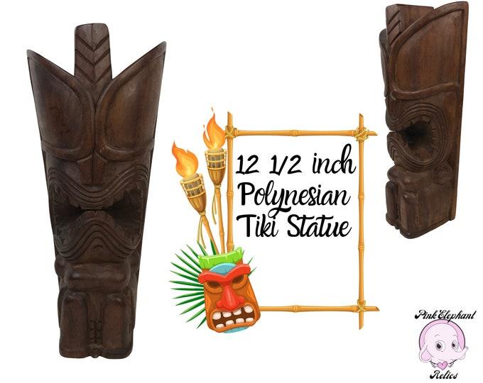 "Spectacular Vintage 12"" Tall Tiki Totem Statue - Retro Polynesian Wood Carved Tiki God Sculpture – MCM Tiki Bar & Lounge Shelf Staging Decor"