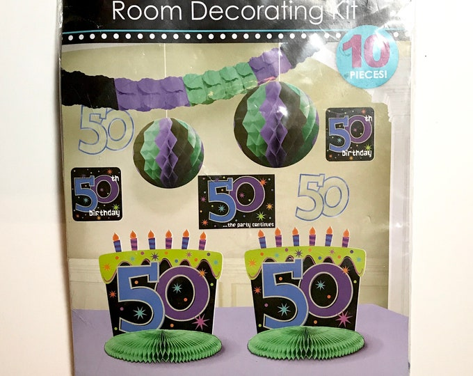 10 pc 50th Birthday Party Room Decorating Kit - Blue Purple Green Black Garland Banner, Centerpiece, Signs - Fiftieth Birthday 50 Years Old