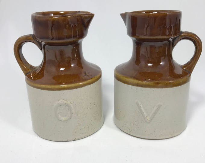 Set of Two Vintage 1970's Brown Stoneware Oil & Vinegar Decanters - French, Country, Vintage Dispensers - Earthenware Glazed Ceramic Set