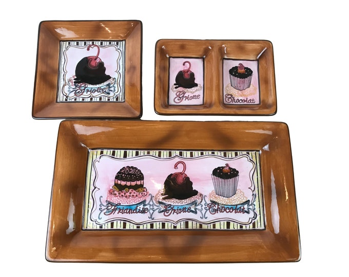 """3 Brown Pink Cafe Dessert Serving Tray Set - Friandise Ambiance Collection 16"""" Rectangle Cupcake Platter, Bonbon Dish & Small Divided Tray"""