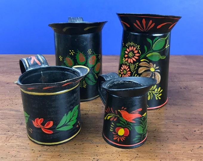 4 Vintage Tin Cream Pitchers - Hand Painted Window Decor - Old Metal Farmhouse Kitchen Shelf Decor - Planter for Succulents, Herbs, Cactus