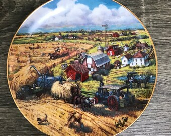 Down on the Farm Collector Plate - Art by Lowell Davis - The American Farm Collection - Danbury Mint - Country Farm Decor - Horse & Buggy