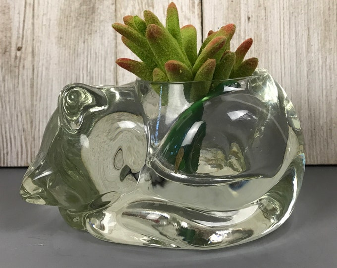 "Clear Glass Sleeping Cat Candle Holder / Small Succulent Planter / Paperweight - Vintage Avon ""Snug N' Cozy"" Crystal Gift For Cat Collector"