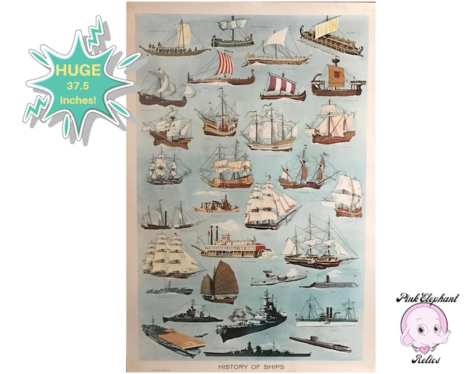 "37"" Large 1959 Educational Poster ""History Of Ships"" Real Vintage School Classroom Chart - Nautical Ship Boat Illustrations Atomic Wall Art"
