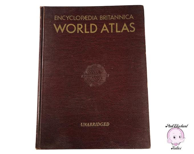 Huge Burgundy 1951 Encyclopedia Britannica World Atlas Unabridged w/ Atomic Age Photos & Maps - Vintage Den Library Bookshelf Red Book Decor